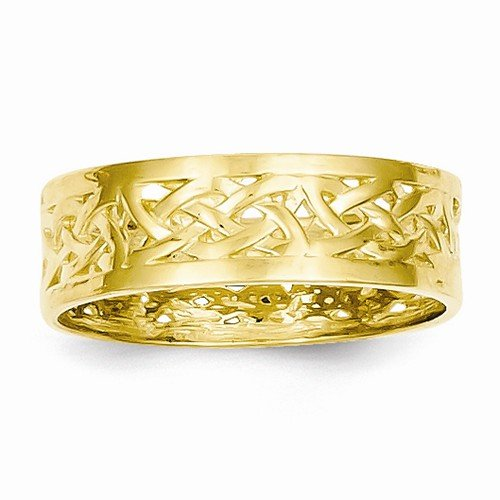 Size - 9 - Solid 14k Yellow Gold Polished Celtic Knot Band Ring (6mm)