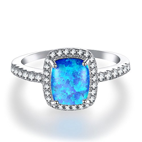 Pure Li 14K White Gold Plated CZ and Created Blue Opal Ring for Women(size5-10)