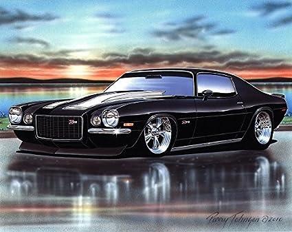 Amazon Com 1970 Chevy Camaro Rs Z28 Muscle Car Art Print Black