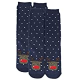 Gmark Winter Thickened Cartoon Cotton Valentines Socks Crazy Socks for Women Navy Blue