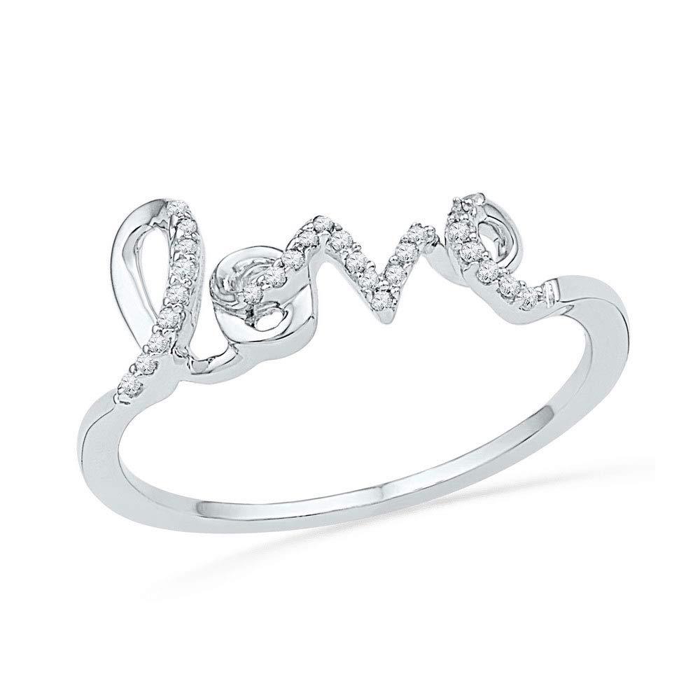 Bijoux par Lux pour femme Or blanc 10carats Diamant rond Amour Bague 1/12ct tw
