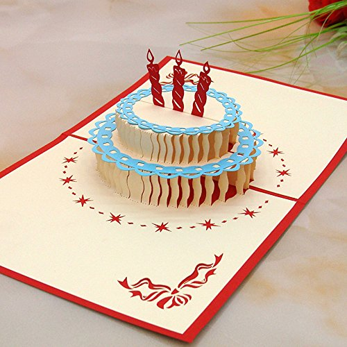 (JSSHI Papercraft 3D Pop-Up Romantic Greeting Cards Birthday Cake with Matching Envelope for Birthday (Red Candle Blue Edge Red Card))