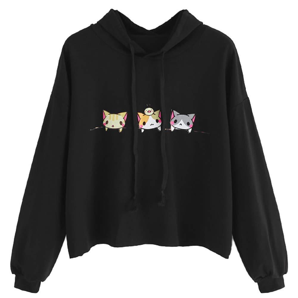 HHei_K Womens Winter Fall Lounge Cute Cartoon Cat Printed Drawstring Hoodie Long Sleeve Loose Hooded Sweatshirt