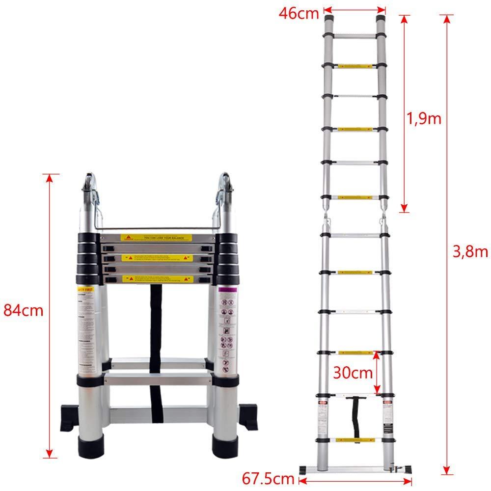 3,2 m, 11 marches capacit/é de charge 150 kg Homgrace /Échelle T/élescopique en Aluminium /Échelle Pliante Portable Echelle polyvalente