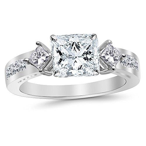 3.75 Carat Platinum Channel Set Past Present Future 3 Stone Princess GIA Certified Princess Cut Diamond Engagement Ring (3 Ct H Color VS2 Clarity Center Stone)
