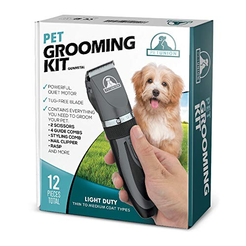 Pet Union Professional Dog Grooming Kit – Rechargeable, Cordless Pet Grooming Clippers & Complete Set of Dog Grooming Tools. Low Noise & Suitable for Dogs, Cats and Other Pets (Gunmetal)