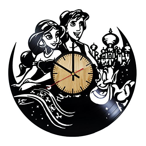 ForLovedGifts Aladdin Disney Design Vinyl Wall Clock - Handmade Gift for Any Occasion - Unique Birthday, Wedding, Anniversary, Wall décor Ideas for Any Space
