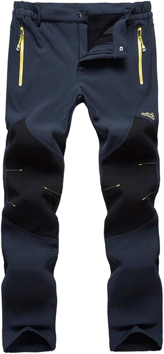 Fleece-Lined Windproof Hiking Pants Waterproof Anti-Static Ski Pants for Men Women