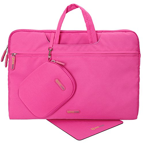 Evecase Portable Sleeve Carrying Case with Handle + Acessories Bag + Mouse Pad for LG Gram 15-Inch Laptop - Hot Pink
