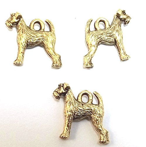 Set of Three (3) Gold Tone Pewter Airedale Terrier Dog Charms (Gold Airedale Dog)