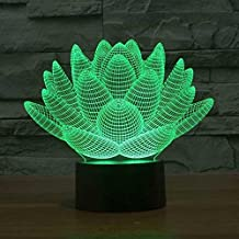 Wosports 3D iLLusion Night Light 7 Colors Changing Table Desk Deco Lamp Bedroom Children Room Decorative Night Light (Lotus Flower)
