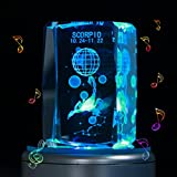 LIWUYOU Engraved 3D 12 Constellation Crystal Colorful LED Light Musical Box, Music Base ,Scorpio