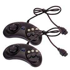 2x New 6 Button Game Controller for Sega Genesis Black