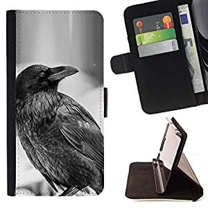 For Samsung Galaxy S5 Mini, SM-G800 Raven B&W Style PU Leather Case Wallet Flip Stand Flap Closure Cover