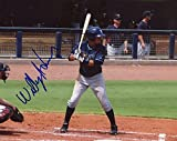 WILLY ADAMES TAMPA BAY RAYS SIGNED AUTOGRAPHED AT BAT 8X10 PHOTO W/COA