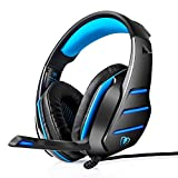 Gaming Headset, PS4 Headset, Xbox One Headset, LOL-FUN Wired 3.5mm Stereo Bass Gaming Headphones Over-ear with Mic LED Light Volume Control Splitter for PC Laptop Tablet Phone (Black and Blue)