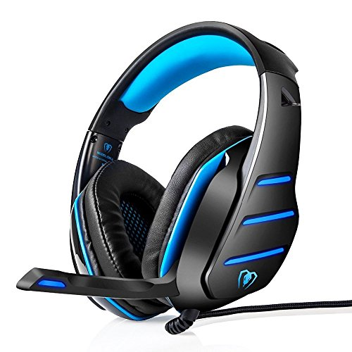 51nhDvfriIL - Gaming Headset, PS4 Headset, Xbox One Headset, LOL-FUN Wired Stereo Bass Gaming Headphones Over-ear with Mic LED Light Volume Control Splitter for PC Laptop Tablet Phone (Black and Blue)