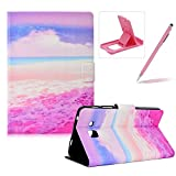 Herzzer Wallet Folio Case for Galaxy Tab A 7.0 T280,Bookstyle Flip Pu Leather Case for Galaxy Tab A 7.0 T280, Stylish Pretty Pink Beach Printed Stand Leather Case with Soft TPU Inner