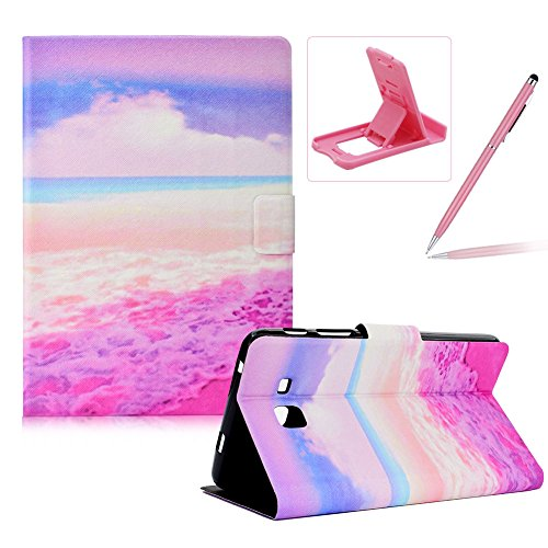 Herzzer Wallet Folio Case for Galaxy Tab A 7.0 T280,Bookstyle Flip Pu Leather Case for Galaxy Tab A 7.0 T280, Stylish Pretty Pink Beach Printed Stand Leather Case with Soft TPU Inner by Herzzer