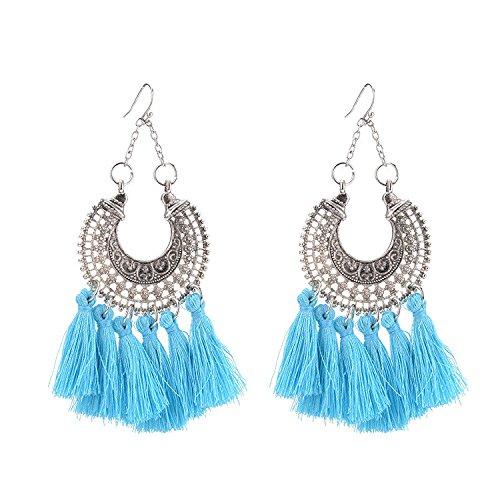 Dana Carrie La Bohemia occidental eólico nacional aretes retro multi-color flow su oreja aretes Joyería colgante azul