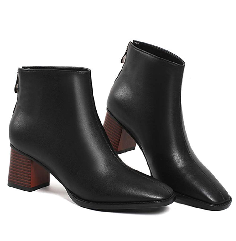 HhGold Damen Leder Fashion High Heel Stiefeletten Dick Mit Martin Stiefel (Farbe   Schwarz 1, Größe   35EU)