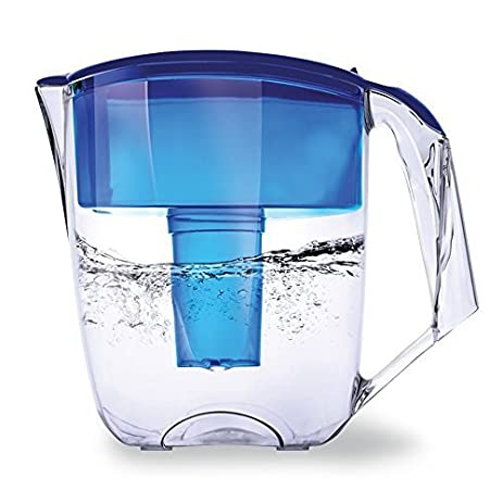 Ecosoft 10 Cup Water Filter Pitcher Jug W/ 1 Free Filter Cartridge, Blue