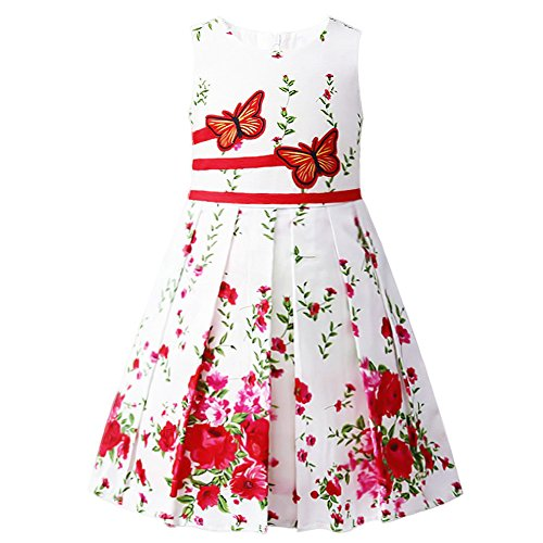 Jxstar Girls Summer Dress Flower Print Swing Rose Double Bow Tie Party Sundress, Butterfly Red, (Rose Flower Girl Dress)