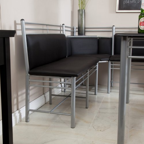 Black Kitchen Chairs For Sale: Black Family Diner 3 Piece Corner Dining