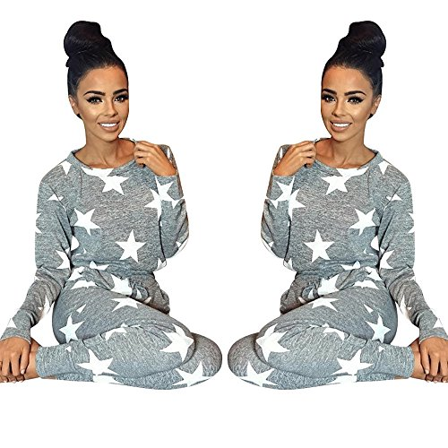 Malltop Women Fashio Set Clothes Five-Pointed Star Casual Bodycon Outfit Sportswear (Gray, S)