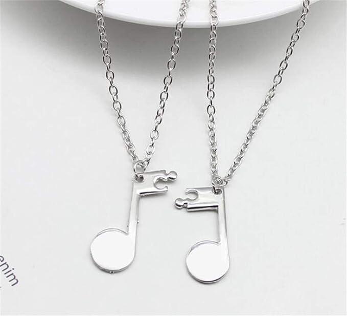 Heyuni2pcs Music Note Symbol Bff Best Friends Necklace Keychain Sets