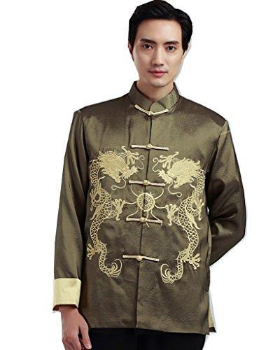 復活するセラー毎週(上海物語) Shanghai Story 太極拳衣装 スポーツウェア シルクドラゴンカンフージャケット金刺繍 カンフー 武術用 アウトドア メンズ上着