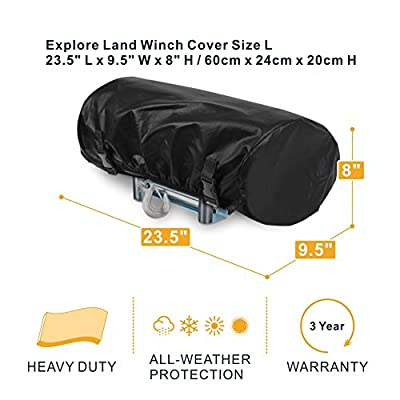Explore Land Waterproof Universal Winch Cover - Dust Resistant Winches Cover 23.5 x 9.5 x 8 inch - Fits Electric Winches Up to 17,500 lbs: Automotive