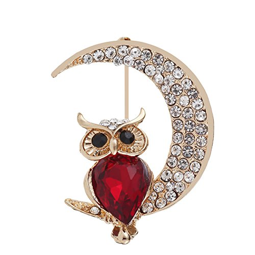 (lightclub Fashion Cartoon Owl Rhinestone Moon Brooch Pin Shawl Suit Shirt Jewelry Gift Red)