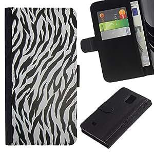 LASTONE PHONE CASE / Lujo Billetera de Cuero Caso del tirón Titular de la tarjeta Flip Carcasa Funda para Samsung Galaxy Note 4 SM-N910 / Zebra Pattern Animal Texture