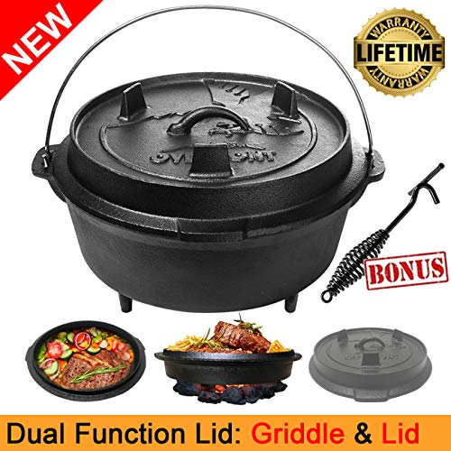 Overmont 9 Quart All-Round Dutch Oven【Dual Function : Lid Skillet】【with Lid Lifter】【Pre Seasoned】 Cast Iron Dutch Oven for Camping Cooking BBQ Baking by Overmont (Image #6)
