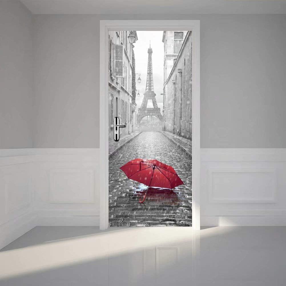 Tifege 3D Door Sticker Wall Decals Mural Wallpaper Eiffel Tower DIY Art Home Decor Decoration 30.3x78.7 DM006