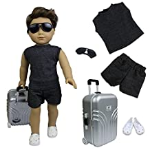 ZITA ELEMENT Travel Boy Set of 4 for 18 inch American Girl Doll Clothes - 1xTravel Case +1xTrval Suits +1xEye Glasses + 1xShoes fit American Boy Doll