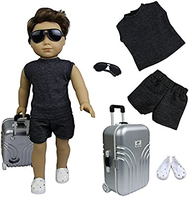 Travel Suitcase Shoes Suits Glasses Clothes for Girl Boy Meet 18 inch Dolls Case