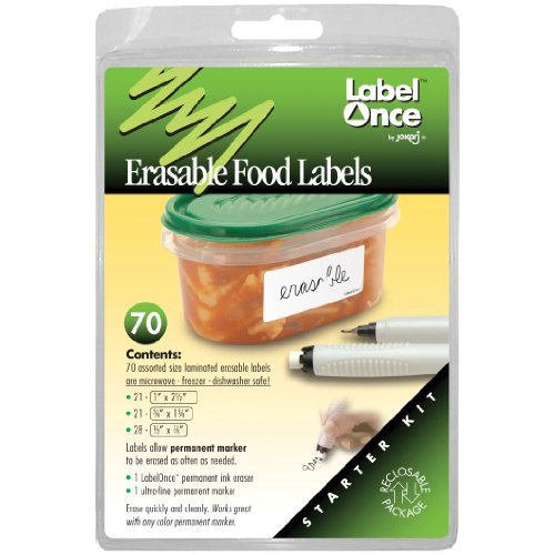 Jokari Label Once Erasable Food Labels with Markers - Jokari Erasable Food Labels
