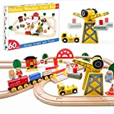 Crane Train Set- 60 Pcs Wooden Track & Exclusive Crane & Trains- Fits Thomas, Chuggington, Melissa- Colorful Packed Toy Railway Kits- Kids Friendly Building Toy for 3+ Years Old Girls & Boys