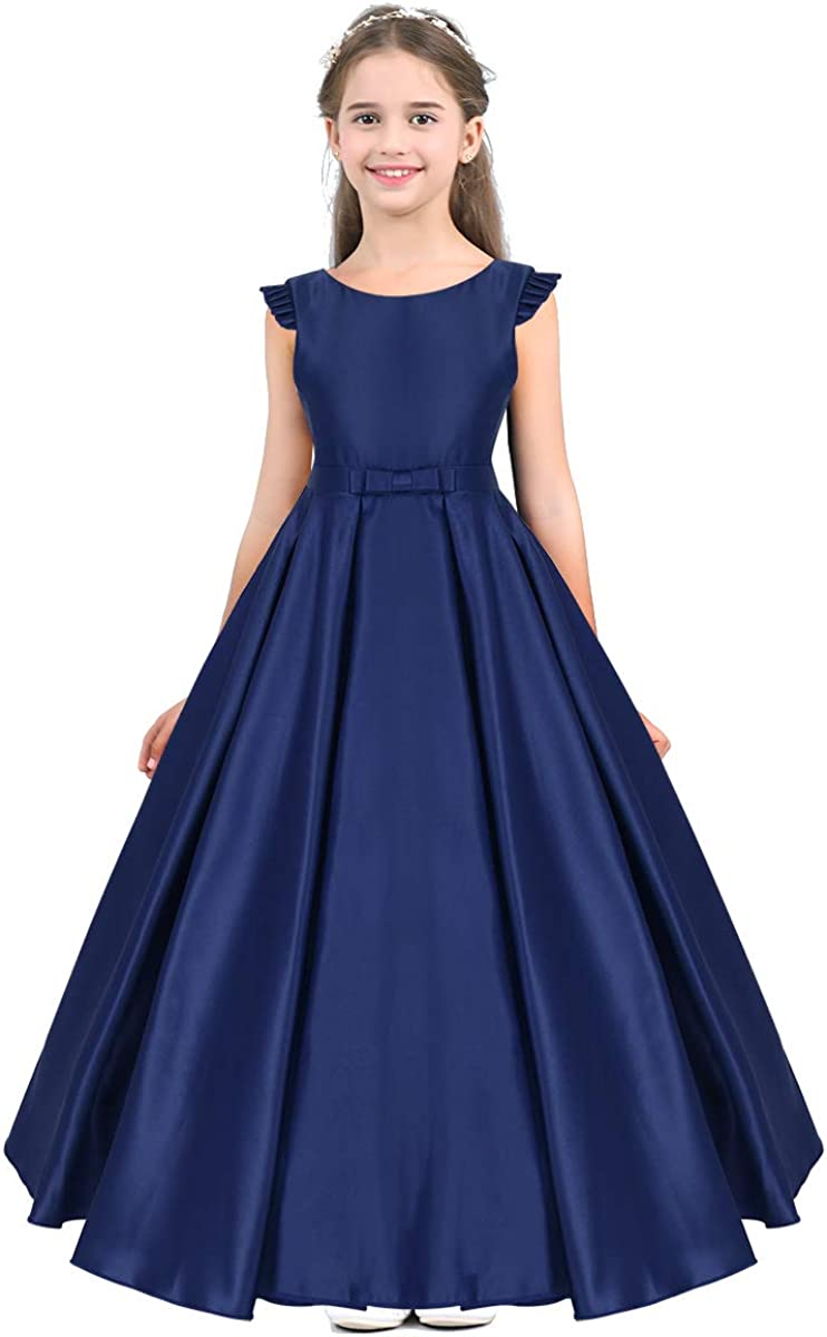 Freebily Kids Flower Girls Sleeveless Bowknot High-Low Junior Bridesmaid Dress Wedding Party Prom Dance Ball Gown