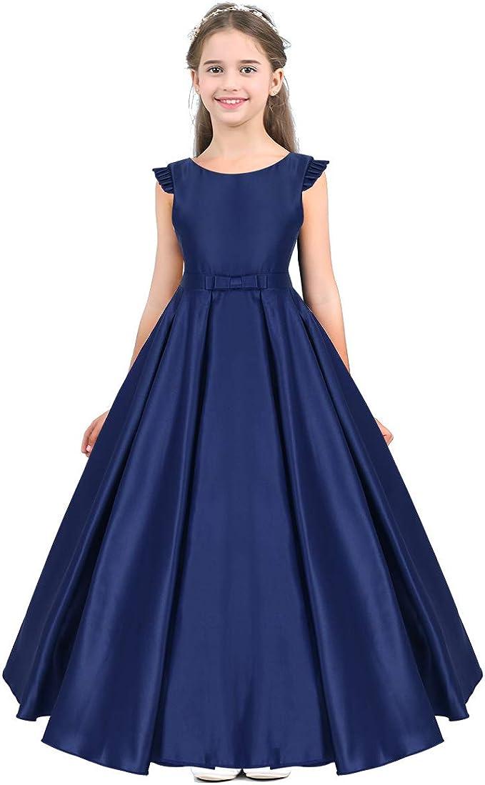 Vestiti Cerimonia 14 Anni.Freebily Vestito Bambina Cerimonia Elegante In Raso Senza Maniche