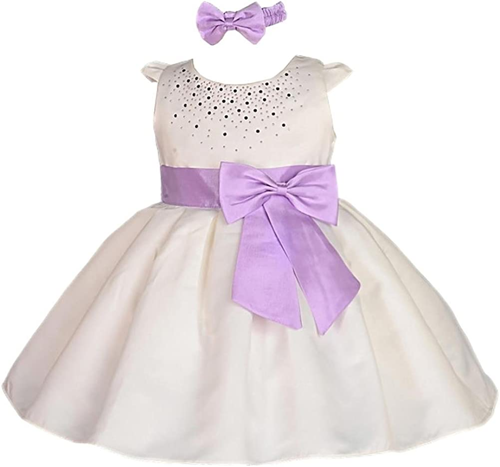 Ivory Christening Flower Girl Bridesmaid Pageant Diamante Party Dress 0-24m