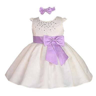 80e8af3a6e9 Lito Angels Filles Strass Satin Filles Fleur Robe fête d'anniversaire robe  Baptême robe Avec