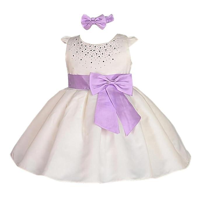 Lito Angels - Vestido - para bebé niña multicolor Ivory With Purple 18 meses