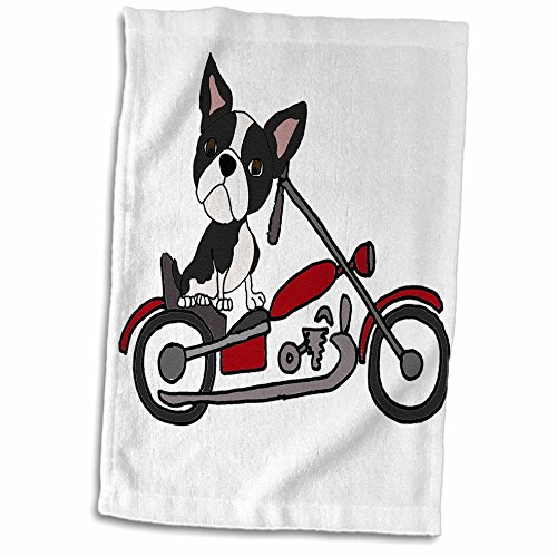 (3dRose Funny Cute Boston Terrier Dog Riding Motorcycle Towel, 15