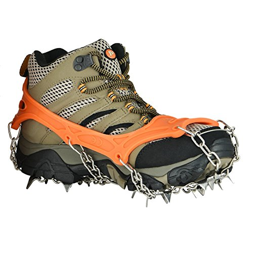 Crampons Universal Flexible Anti-Slip Ice Grips Snow Traction Cleats Ice Spikes Crampon with Stainless Steel Chain for Climbing Hiking(Orange L 19Teeth)