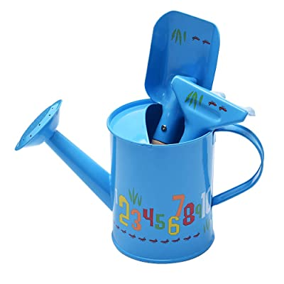 Sungmor Kids Garden Tools Set | Pretty & Cute Little Gardener Kit | Package Includes 3PC Blue Number Watering Can & Trowel & Rake Gardening Hand Tools | Perfect for Play Around Garden,Yard or Beach: Garden & Outdoor