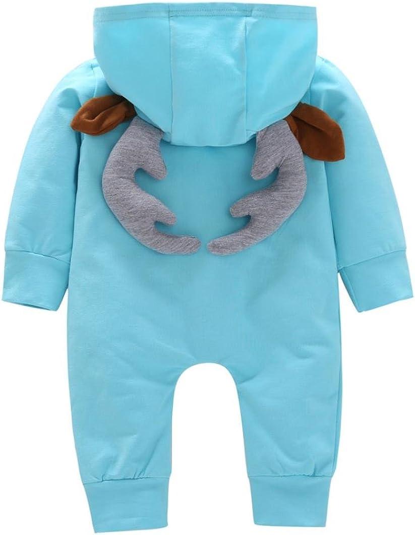 Franterd Girls Boys Deer Ear Hooded Romper Toddler Baby Autumn Winter Christmas Cartoon Jumpsuit Overall