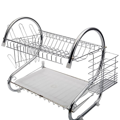 Anqi 2 Tiers Dish Drying Rack Home Washing Holder Basket Pla